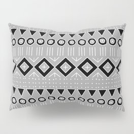 Bohemian Mudcloth Style 2 in Gray and Black Pillow Sham