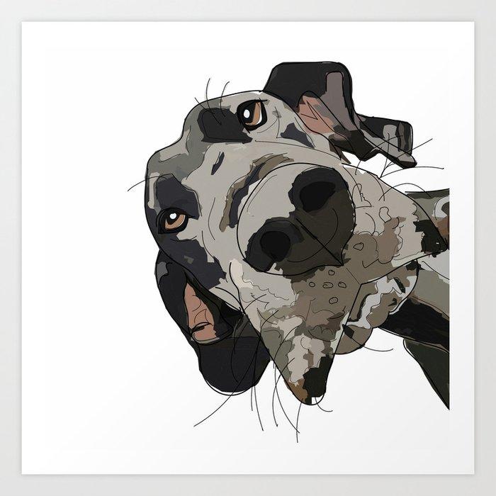 Great Dane dog in your face Kunstdrucke