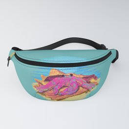 Colorful hermit crab in conch shell - Teal Fanny Pack