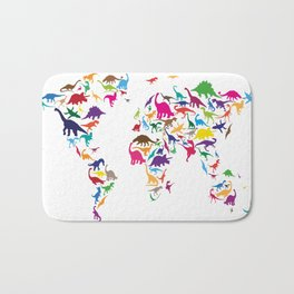 Dinosaur Map of the World Map Bath Mat