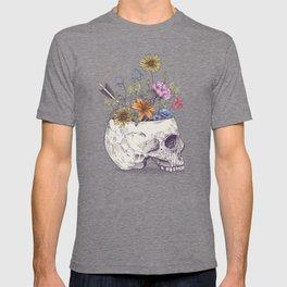 Half Skull Flowers T-shirt