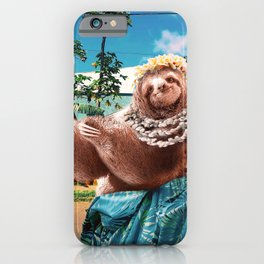 Cute Aloha Sloth Hawaiian iPhone Case