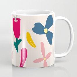 Elegant Floral Pattern on Pink Beige Coffee Mug