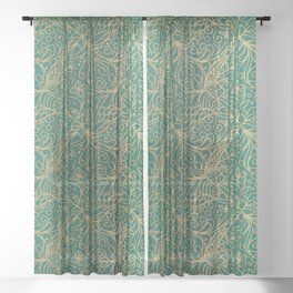 Gold and Green Tangle Pattern Sheer Curtain