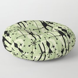Retro Atomic Mid Century Pattern 771 Sage Floor Pillow