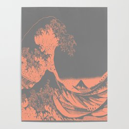 The Great Wave Peach & Gray Poster