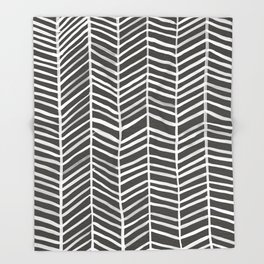 Herringbone – Black & White Throw Blanket