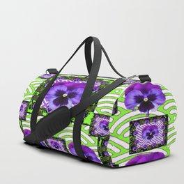 GREEN &  PURPLE PANSY ART ABSTRACT  PATTERN Duffle Bag