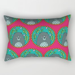 Bear Portrait Pink Rectangular Pillow