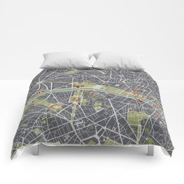 Paris city map engraving Comforters