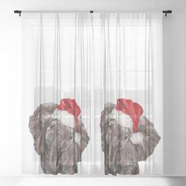Christmas Baby Elephant Sheer Curtain