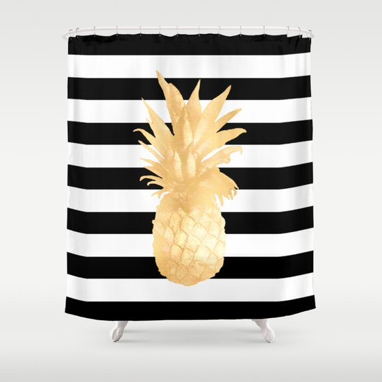 Gold Pineapple Black and White Stripes Shower Curtain by Nature