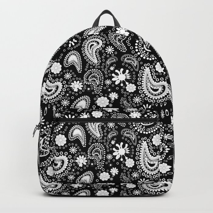 Paisley Power Black and White Backpack