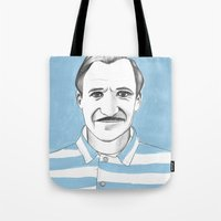 the grand budapest hotel Tote Bags featuring Ralph Fiennes. The Grand Budapest Hotel.  by Elena O'Neill