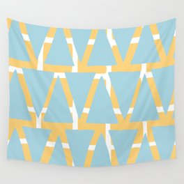 Blue and Yellow Arrowhead Print Wall Tapestry