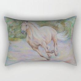 Palomino horse galloping Pastel drawing Horse portrait Equestrian decor Rectangular Pillow