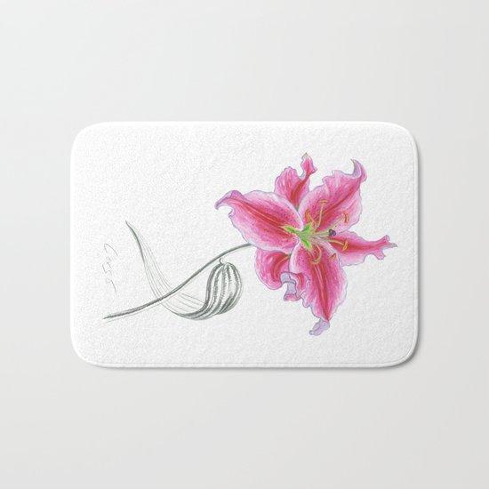 Lily 02 Botanical Flower * Pink Stargazer Rubrum Lily  Bath Mat