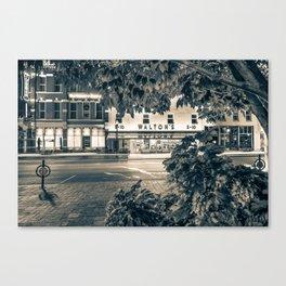 A Night On The Bentonville Arkansas Square Sepia Black White Canvas Print