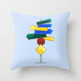 Direction Sign Throw Pillow