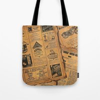 newspaper Tote Bags featuring old newspaper by Marianna Burk