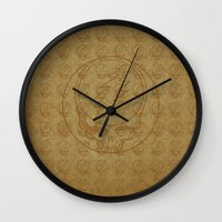 grateful dead Wall Clocks featuring Vintage Grateful Dead Steal Your Face Pattern by Studio 535