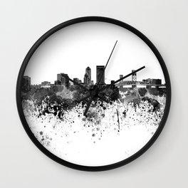 Jacksonville skyline in black watercolor Wall Clock