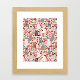 Cat Flowers cute spring summer garden cat lady pattern gift for cat person cat breed pet portraits  Framed Art Print