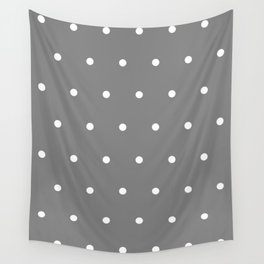 Grey With White Polka Dots Pattern Wall Tapestry