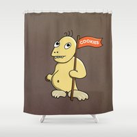 cookie monster Shower Curtains featuring Funny Cartoon Cookie Monster by Boriana Giormova