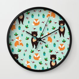Christmas pattern with bears, foxes and birds #society6 #homedecor Wall Clock