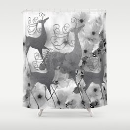REINDEER AND FLOWERS in Black and White Shower Curtain
