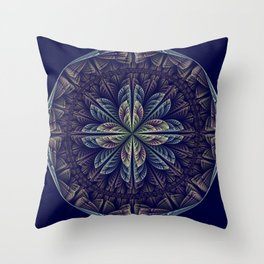 Fantasy flower bud opening up, fractal abstract Throw Pillow