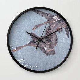 Two Geese Flying Over A Lake - Traditional Japanese Woodblock Print Art By Ohara Koson Wall Clock