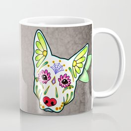 German Shepherd in White - Day of the Dead Sugar Skull Dog Coffee Mug