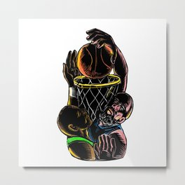 Basketball Player Dunking Blocking Ball Tattoo Metal Print