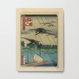 Utagawa Yoshitaki - 100 Views of Naniwa: Tenman-gu Shrine in Sata Village (1880s) Metal Print