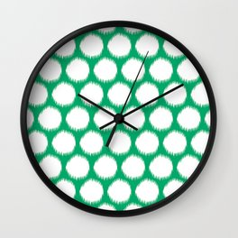 Jade Asian Moods Ikat Dots Wall Clock