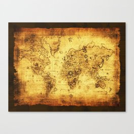 Arty Vintage Old World Map Canvas Print