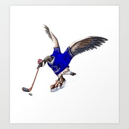 Canada Goose Playing Hockey Art Print