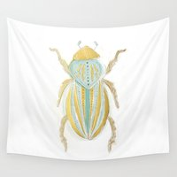 beetle Wall Tapestries featuring Beetle by Very Sarie