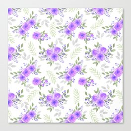 Hand painted violet lilac green watercolor peonies floral Canvas Print