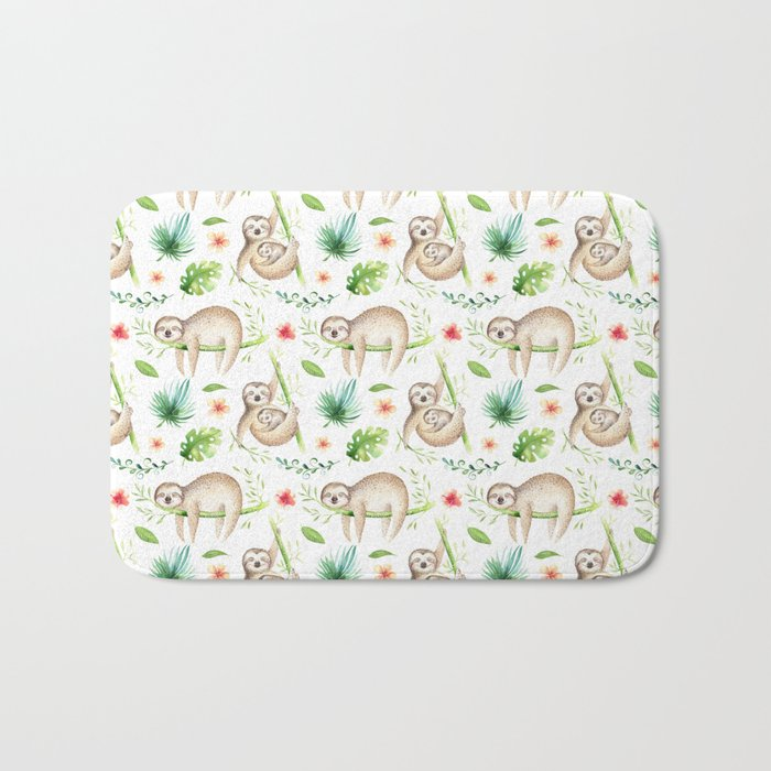 Modern hand painted green brown watercolor tropical floral sloth Bath Mat