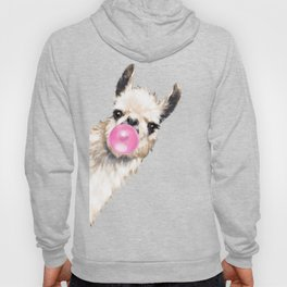 Bubble Gum Sneaky Llama in Green Hoodie