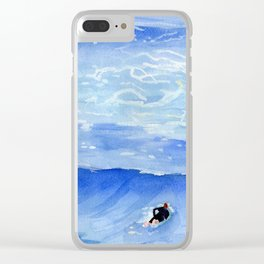Getting ready to take this wave surf art Clear iPhone Case