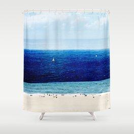 Navy Blue Beach Shower Curtain
