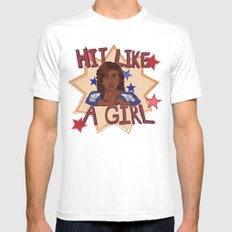Hit Like A Girl Mens Fitted Tee MEDIUM White