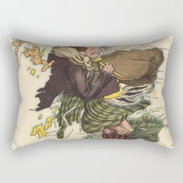 Vintage Scotland Bagpiper Map (1868) Rectangular Pillow