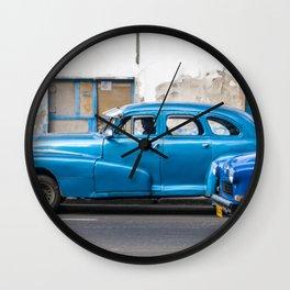 Vintage Blue Cars Wall Clock