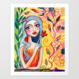 Girl in the Garden 2 Art Print