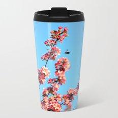 Pink flowers With Bee Metal Travel Mug